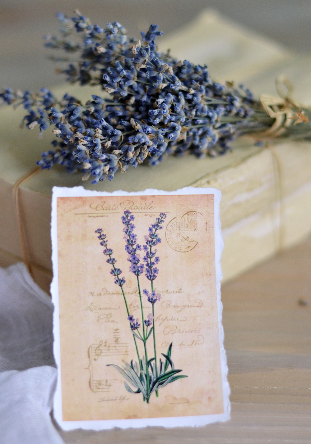 Hydrangea and Lavender vintage tags with torn edges - by Dreams Factory #diy #crafts #French #lavender #hydrangeas
