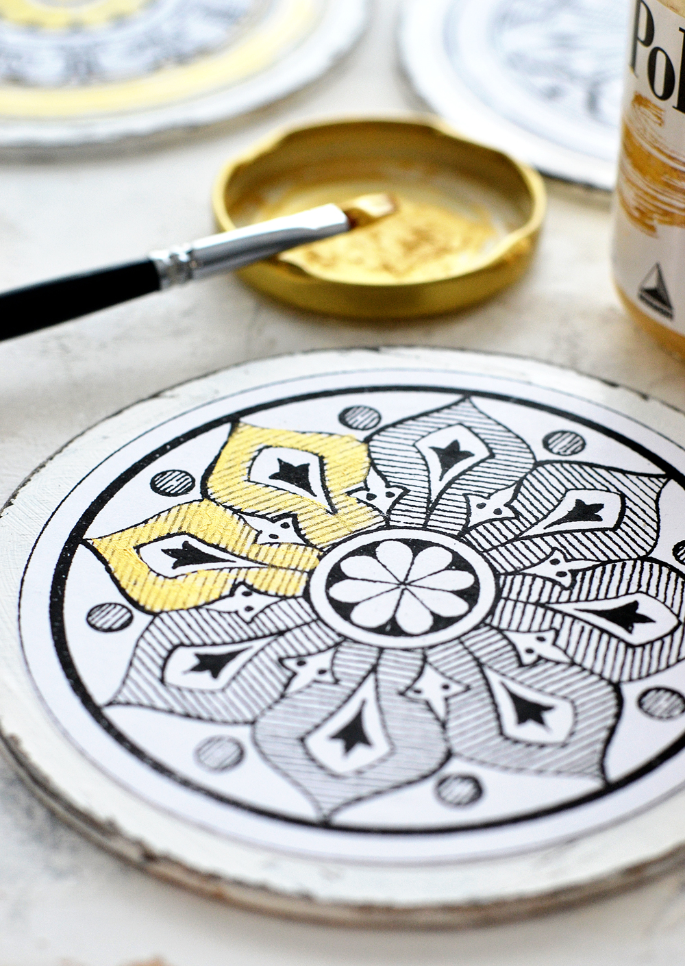 Learn how to make your own DIY Antique Adult Coloring Mandalas and find suggestions on how to uniquely color them and even add chic gold touches