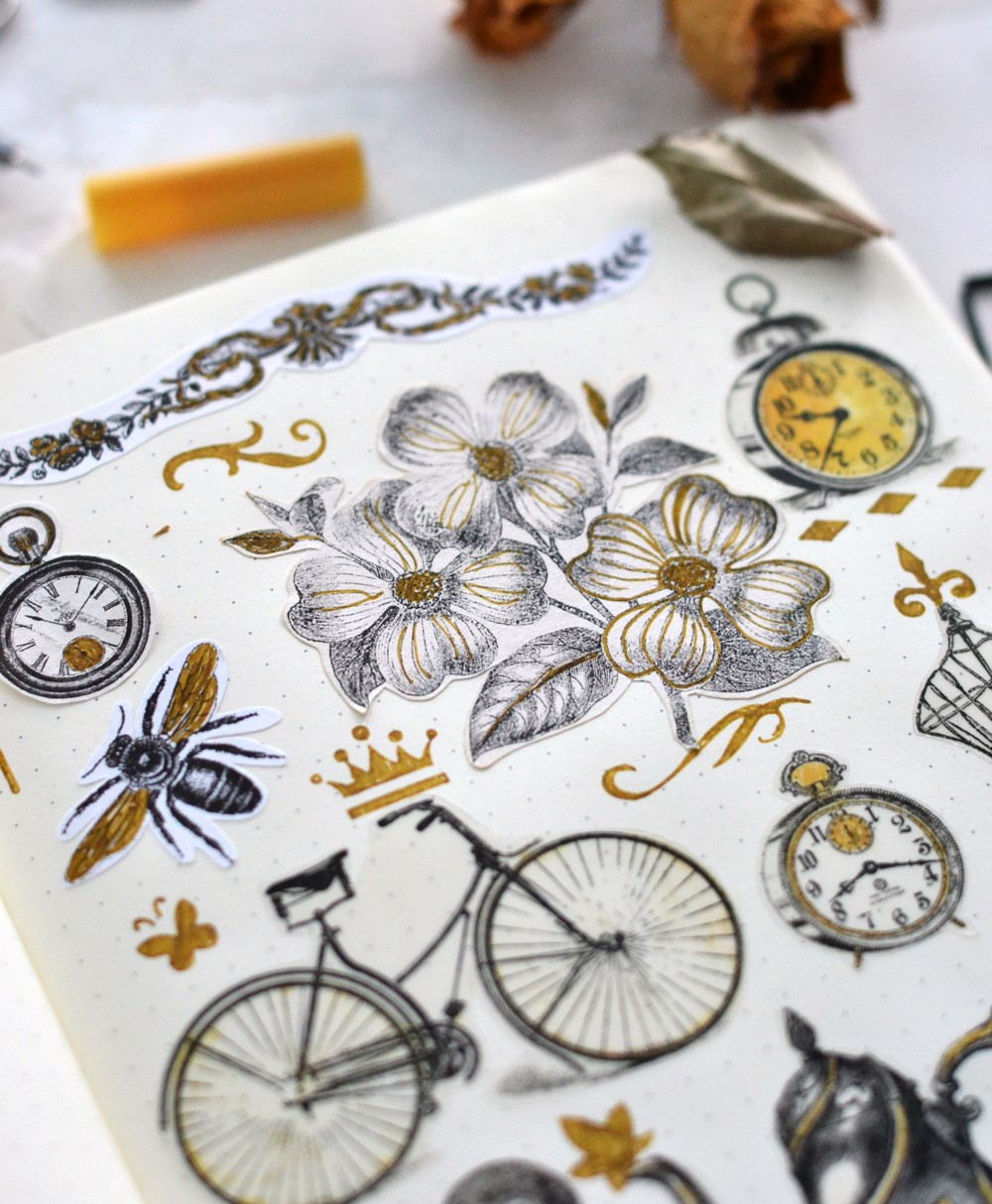 Learn how to make some amazing DIY vintage stickers using 3 types of paper ...and some coffee (to give the stickers a beautiful, antiqued look) #DIY #bulletjournal #stickers #vintage #crafts