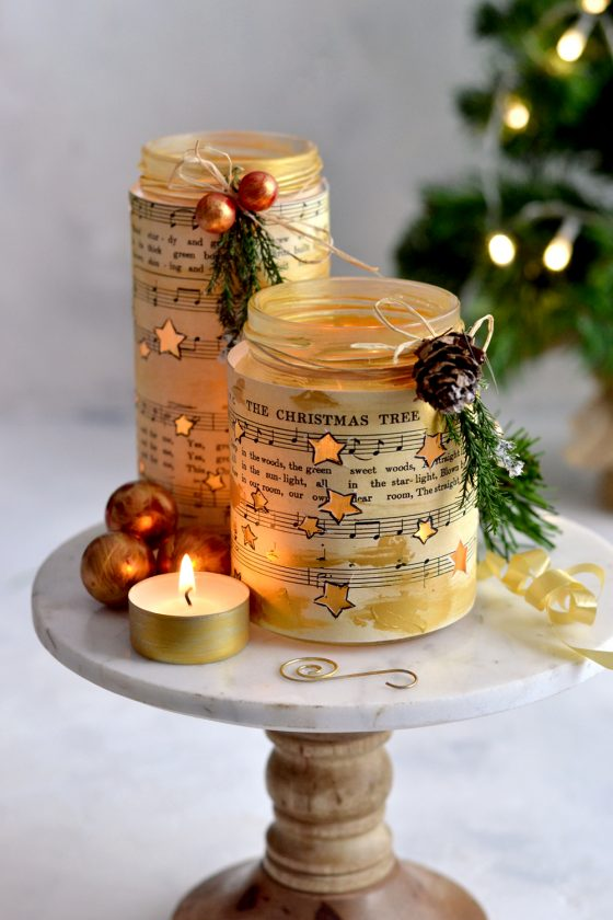 DIY Glowing Stars Gold Luminaries