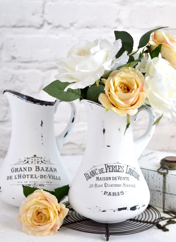 DIY Aged French Pitchers + free printable