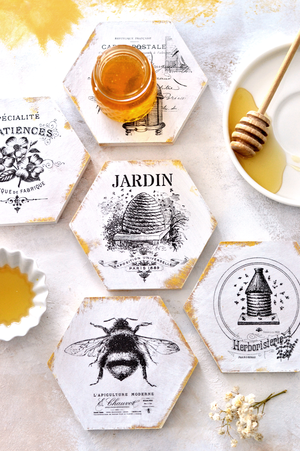DIY French Honeycomb Gold Coasters + free printable
