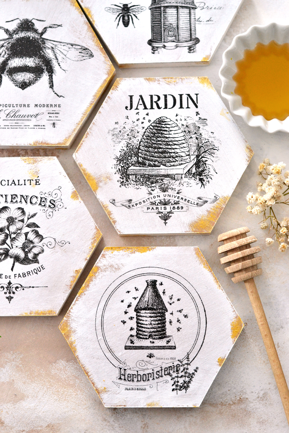 DIY French Honeycomb Gold Coasters