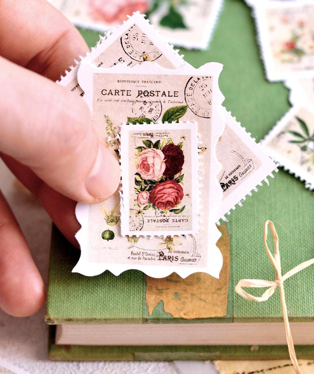 DIY Vintage Postage Stamps - bydreamsfactory.com #DIY #vintage #shabbychic #crafts #DIYpaper