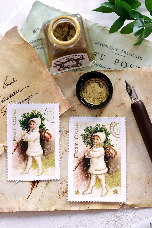 DIY Vintage Christmas Postage Stamps