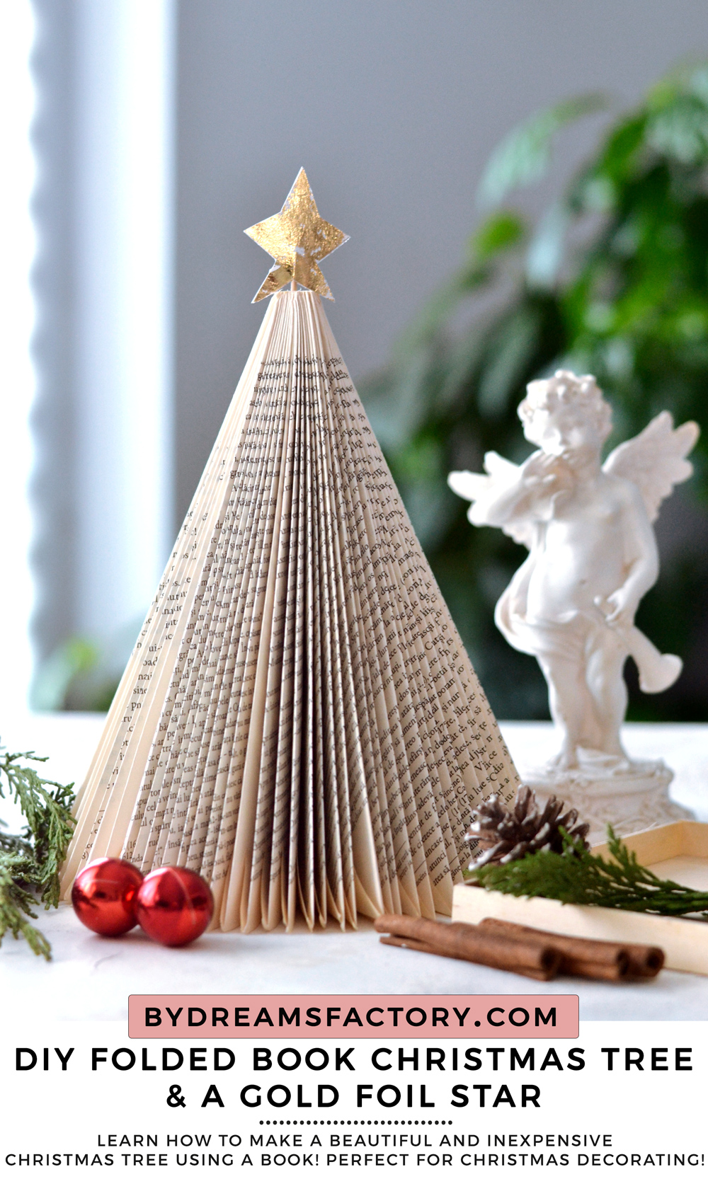 DIY Folded Book Christmas Tree with gold foil star