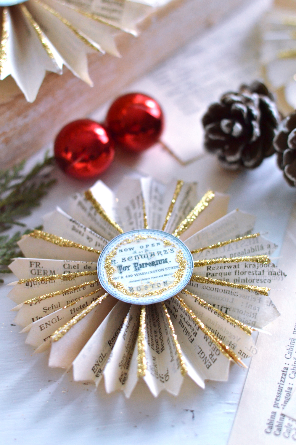 DIY Vintage Christmas Book Page Rosettes