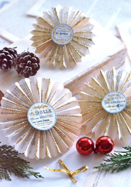 DIY Vintage Christmas Book Page Rosettes … with a little bit of glitter!