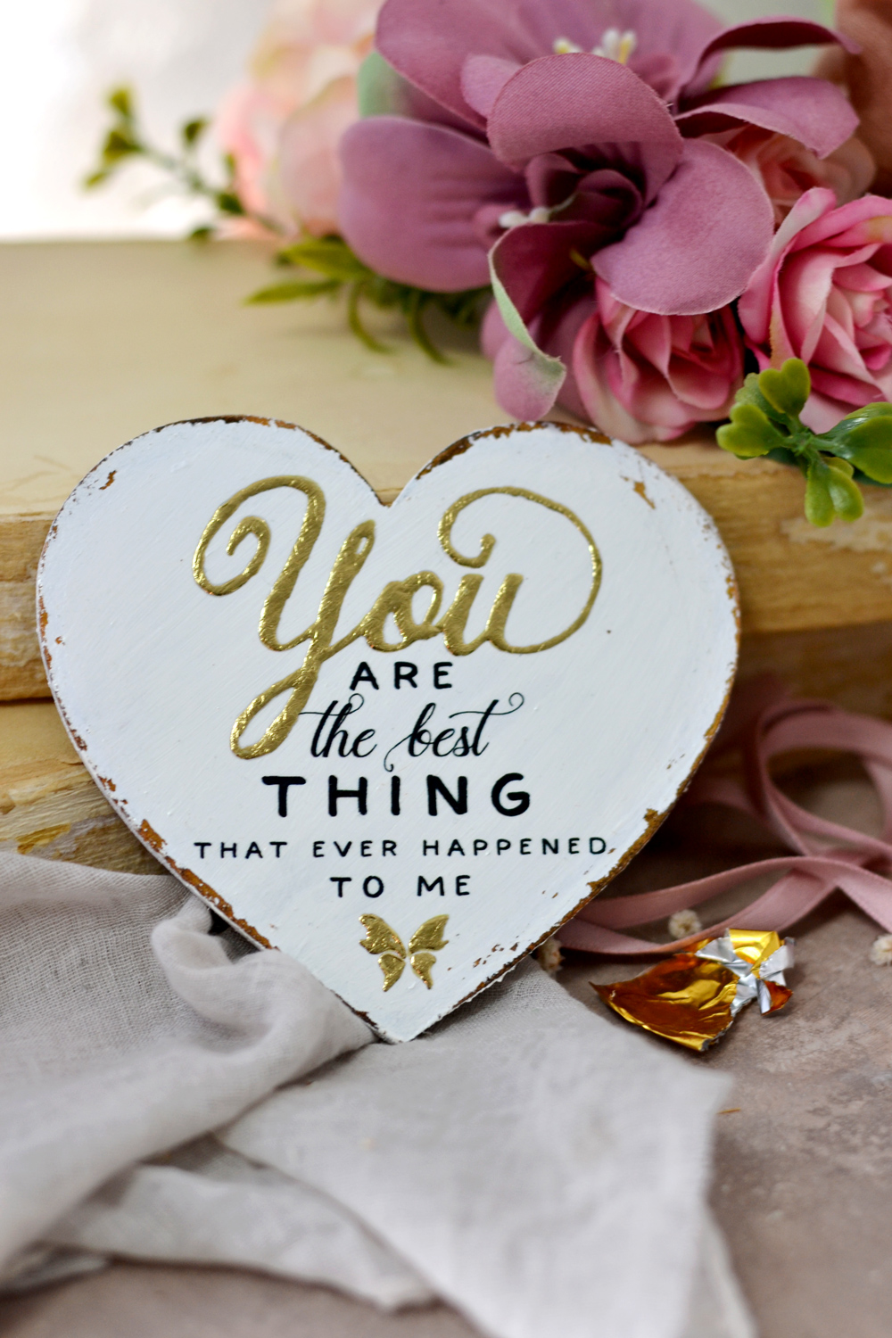 These gold hearts with love messages can be personalized with something meaningful to you and will make the perfect gifts for Valentine's day!