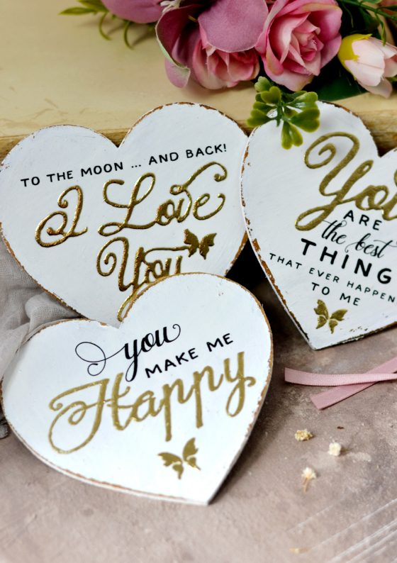 Gold Hearts with Love Messages – perfect for Valentine's Day (or any other day)