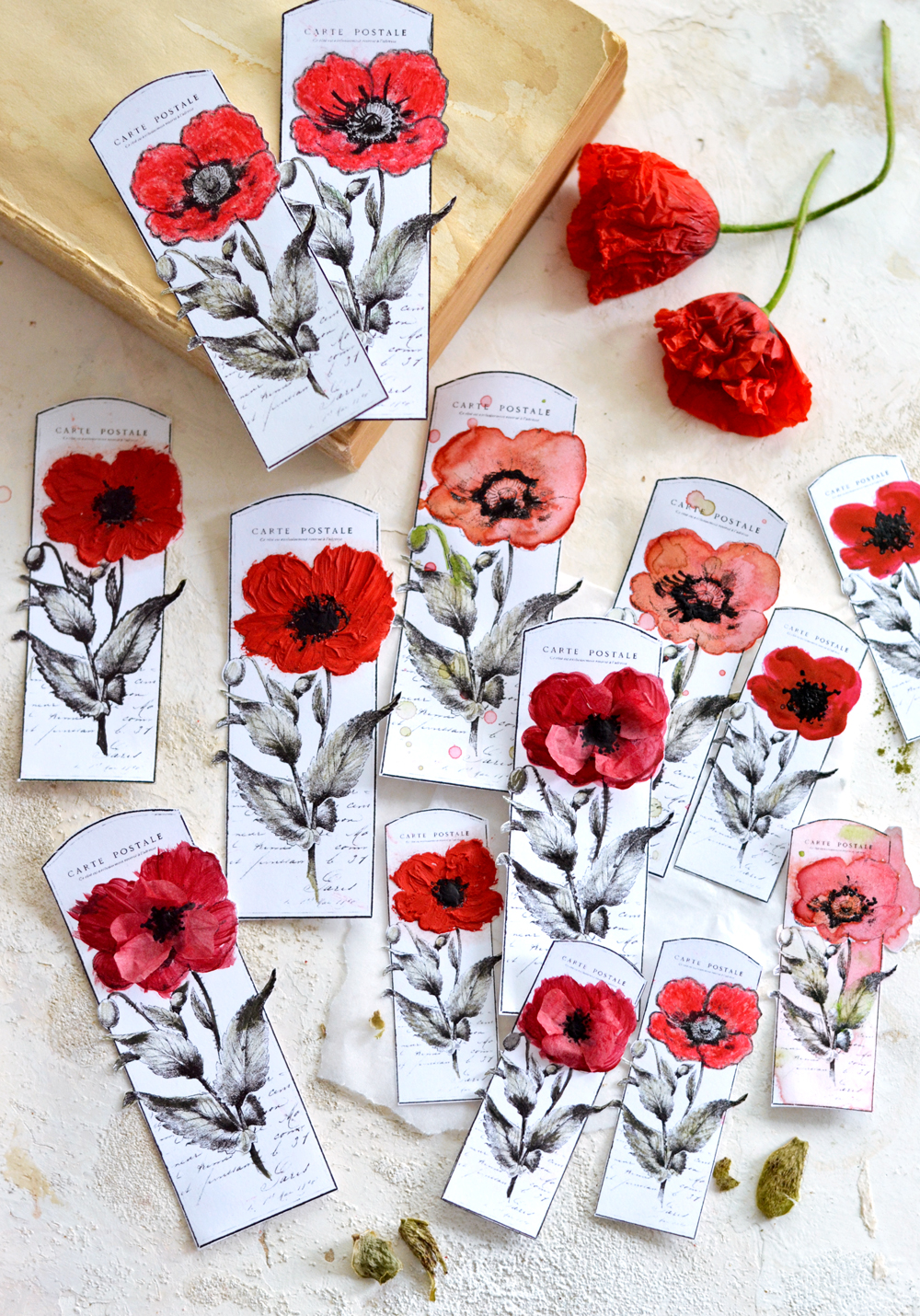DIY Vintage French Poppy Tags
