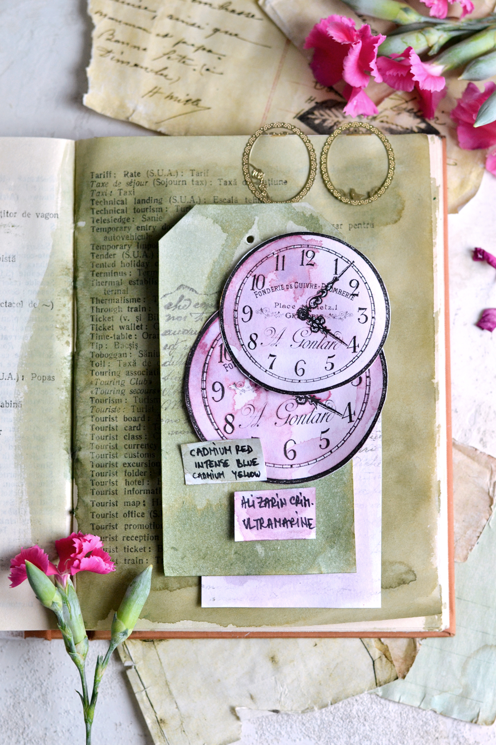 DIY Vintage French Clock Faces & watercolor swatches - free printable