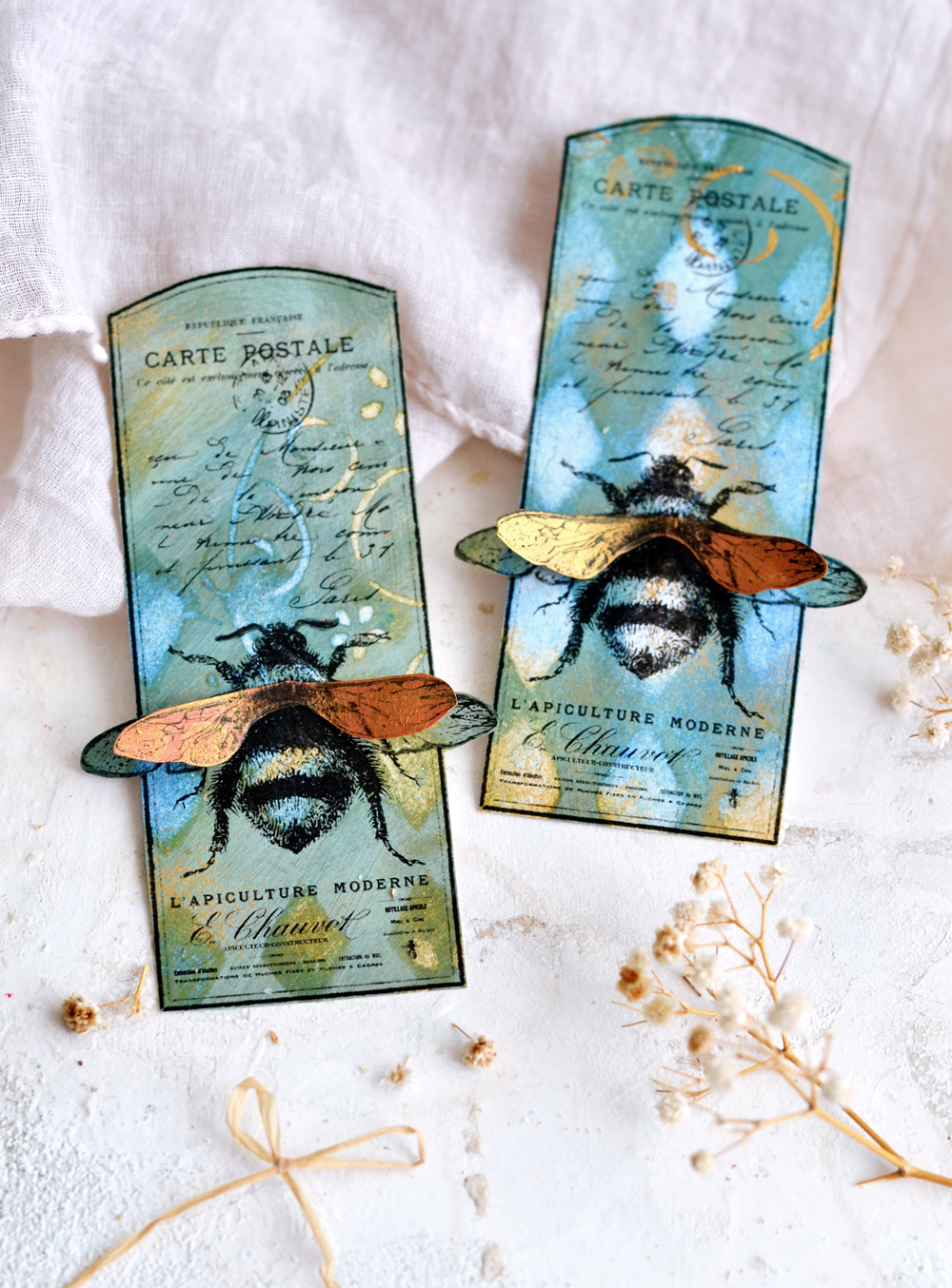 DIY 3D Vintage Bee Tags - learn how to make these amazing bee tags using my revolutionary technique of printing on acrylic paint backgrounds! #diy #crafts #vintage #craftprojects #paperprojects #bee #bees #goldpaint #mixedmedia #acrylic paint