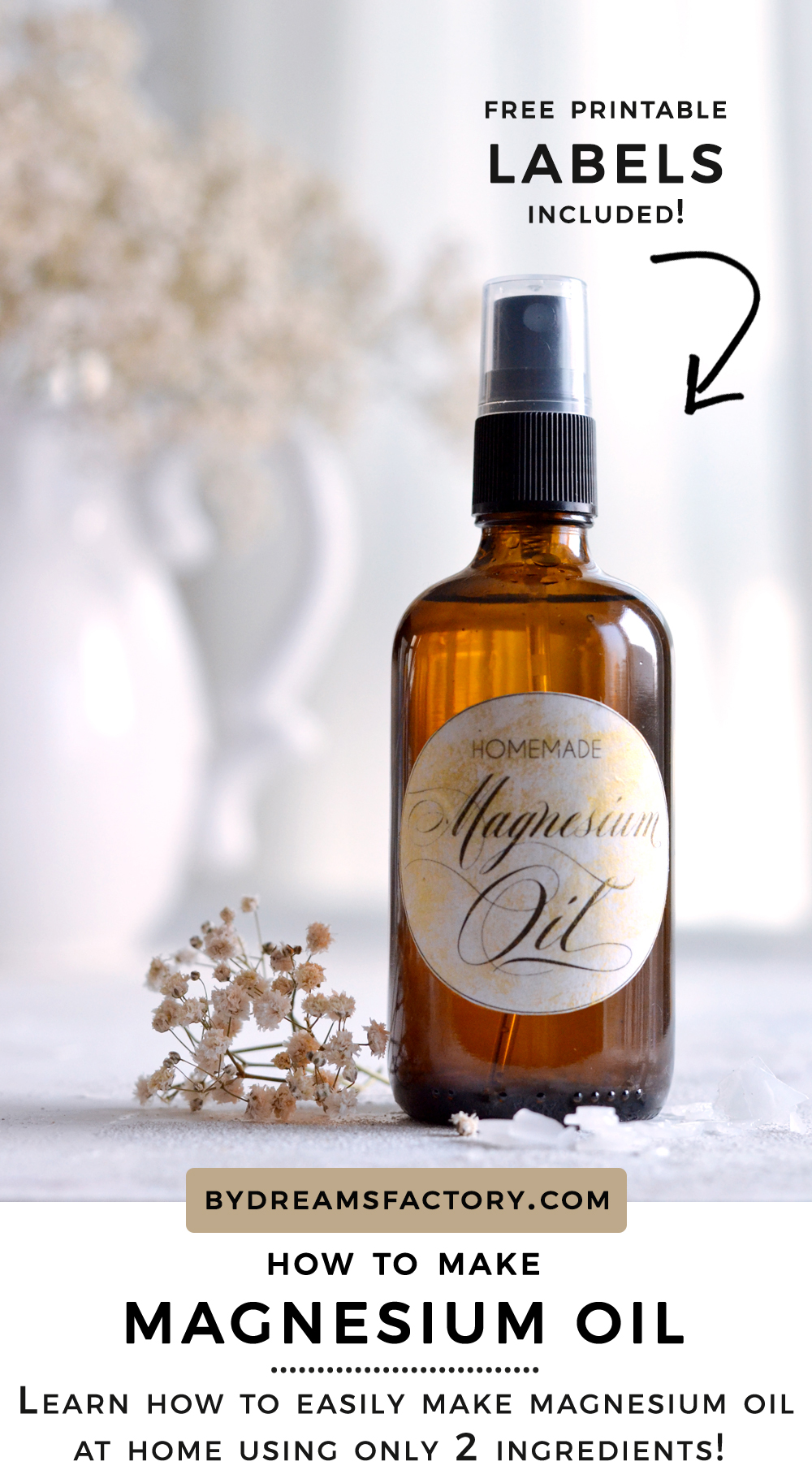 How to make magnesium oil - learn how easy it is to make magnesium oil at home using only two ingredients! Free printable labels included!