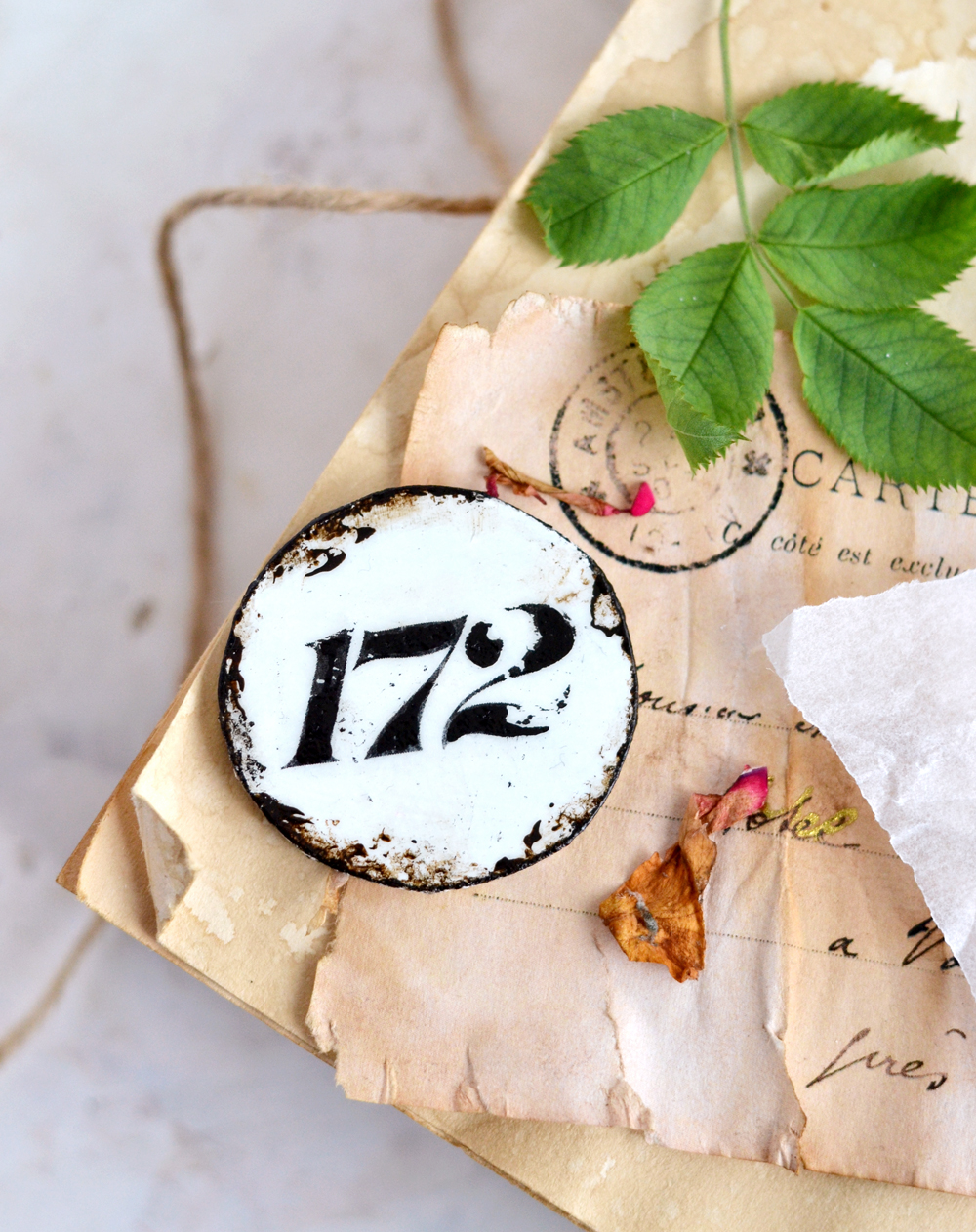 DIY Faux Enamel French Number Tags