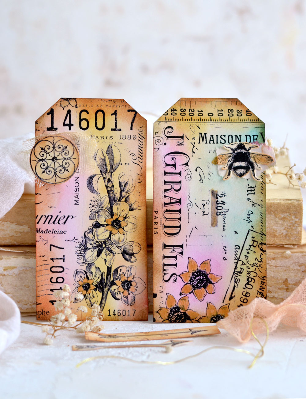 DIY Vintage French Collage Paper Tags